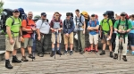 Huntington Boy Scout Troop 130 begins its Pictured Rocks adventure at Miners Castle. Pictured (from left) are Jeff Webb, Eric Bruce, Mike Cook, Jacob Bruce, Breckin Hammel, Evan Bostel, Jacob Worsham, Evan Meyer and Jim Fettinger.