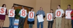 The goal for the 2018 United Way of Huntington County campaign was announced at $580,000 during the campaign kickoff on Wednesday, Sept. 26, at the First Church of the Nazarene in Huntington. Holding up the numbers are (from left) Julie Pohler, Alyssa Aughinbaugh, Brianna McIntyre, Mandy Reber, Charles Thomas, Trudy Perdue, Nick Stanley and Bobby Kemp.
