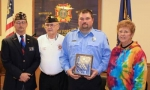Gregory S. Shearer was honored by VFW Post 2689 as Firefighter of the Year. Pictured are (from left) Post Commander Dale Howell; Jerry Walling, chairman of the Firefighter of the Year program; Shearer; and Lois Hall, auxiliary president.