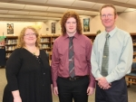 Huntington North High School senior Evan Hill (center) has been named valedictorian of the HNHS Class of 2019. Hill, who was introduced as HNHS' top scholar at a breakfast on Wednesday, April 17, is joined by his mother, Mary Beth Hill (left) and his father, Doug Hill.