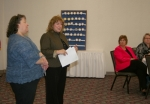 Pam Fowler (left), voter registration and election deputy, and Huntington County Clerk Kittie Keiffer (second from left), explain the new vote centers that are being implemented for the first time during the upcoming municipal primary election to members of the Optimist and Kiwanis clubs on Thursday, April 2.
