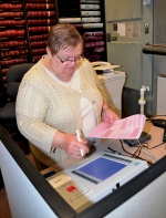 Linda Beatty, the Democrat member of the Huntington County Election Board, tests one of three randomly selected voting machines on Thursday, April 16, at the Huntington County Courthouse. The board tests the machines prior to each election.