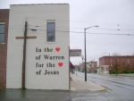 The side of the Warren Church of Christ has been painted to commemorate its 110th anniversary.