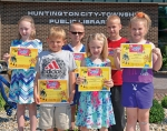 Winners in the Huntington City-Township Public Library's 2016 PBS39 Kids Writers Contest are (front, from left) Traevor Myers, Samantha Bledsoe and Izabella Nieman; and (back, from left) Audrey Bledsoe, Joseph Christman and Nicholas Christman. Nieman and Samantha Bledsoe went on to win regional awards.