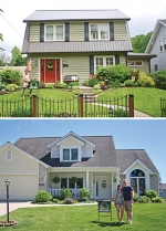 Pictured (at top) Jennifer Hall places a Huntington Yard of the Month sign in the front yard of her Poplar Street home. She and her husband, David Hall, were recognized for their yard in June. Pictured (at bottom) Mary and Lance Clark earned Huntington Yard of the Month honors for June for the landscaping at their Bellingham Drive home.