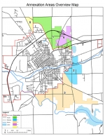 This map, provided by the City of Huntington, shows the five areas proposed for annexation by the city over the next eight years.