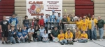 Members of Team THRUST 1501, of Huntington, pose with teams from Indianapolis and Monon after the three robotics teams formed an alliance to win the CAGE Match compeitition on Oct. 17 in Indianapolis.