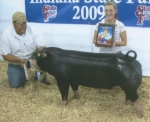 Tara Stoffel (right), of Huntington County, is shown with her champion Poland China Barrow, which sold for $8,600 in the 2009 Indiana State Fair Spotlight Sale of Champions.