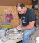Working in his rural Warren studio, Josh Heim shapes one of the ceramic bowls that will be given to adult ticketholders at Soup for the Arts on Nov. 17, the first fund-raising event of the newly formed Warren Creative Arts Outreach.