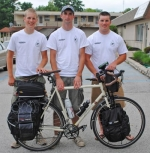 Making a stop at Coffee D'Vine in Huntington as part of their Ride for Marale are (from left) Andy Friedlund, Morgan Jones and Matt Friedlund.