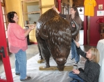 Huntington artists (from left) Katrina Mitten, Katy Strass and Angela Ellsworth apply the brown undercoat on the life-sized, fiberglass statue of a bison on Thursday, April 7, in Schenkel Station, before adding more colorful decorations depicting Huntington County's history and culture. The project is in conjunction with Indiana's Bicentennial celebration this year.