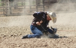 Emily Freise, 18, of Majenica, completes her goat tying run at a National Little Britches Rodeo, held at Tippman Ranch in New Haven. Goat tying is one of five events that Freise competed in that day, the others being trail course, barrel racing, poles and breakaway.