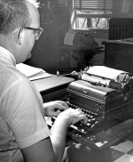 "Bob Hammel types a story on his typewriter in the summer of 1962 during his time as a reporter for The Herald-Press in Huntington. Hammel eventually departed his hometown and ended up in Bloomington, where he went on to have a long and distinguished career in sports journalism. Hammel wrote about his career in a new memoir, ""Last Press Bus Out of Middletown."" He will be discussing the book during two appearances in Huntington on Tuesday, May 14. The second of those appearances will be at the Huntington Branch of the Huntington City-Township Public Library at 6 p.m."