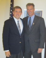 Huntington University senior Clint Smith poses with Sen. Scott Brown (R-Mass.) in Washington, D.C. during the past summer. Smith nabbed a prestigious congressional internship in Brown's office for 10 weeks in July and August.