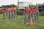 Competing in an activity during their Saturday, Sept. 12, competition are cadets in the Huntington North High School junior Reserve Officers' Training Corps. The HNHS JROTC program currently has 90 cadets who are involved both in-person and virtually.