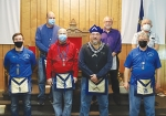 The Mt. Etna Masonic Lodge held its annual installation of new officers on Thursday, Dec. 3, and several members received awards. Featured are (first row, from left) David Fenker, Joe Gooding, Ryan Kline and Ed Purvis, along with (second row, from left) Brent Campbell, Steve Halchuck and Guilford Wehr Jr.