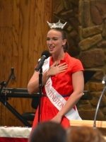 Miss Huntington, Alli Harris, opens the Huntington County  Memorial Day service on Monday, May 26, by singing the national anthem.