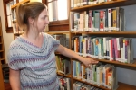 Andrews-Dallas Township Public Library Director Nancy Disbro explains the new WordWise classification system the library has adopted in order to make searching for non-fiction books and materials easier. The library is replacing the old Dewey decimal numbered system with a word-based system.