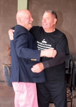 Larry Buzzard (left) beams as he accepts congratulations from David Funk on winning the Republican nomination for mayor of Huntington in the municipal primary election on Tuesday, May 7. Funk also had reason to celebrate, as he won the GOP nomination for the 4th District seat on the Huntington Common Council.
