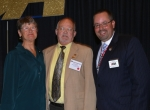 Dave Tyler (center) was honored in June by the Indiana Funeral Directors Association for his 50 years in the funeral business. Andy Clayton (right) presented the 50-year award for the association; with them is Tyler's wife, Peggy Tyler.