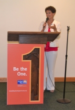 Nicole Johnson, chair of the Huntington County United Way's 2013 fund-raising campaign, thanks the companies who volunteered to be Pacesetters for the campaign during a Pacesetter kick-off luncheon on Wednesday, June 26.