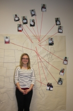 Huntington North High School senior, and soon-to-be Viking New Tech (VNT) graduate, Laresa Lund stands in front of a map she created,which depicts the future of VNT seniors.