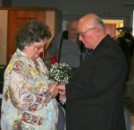 Oretta and Ned Keese, of Huntington, repeat the marriage vows they made nearly 24 years ago on Friday, Feb. 13. The Keeses were one of eight couples who re-tied the knot in a group ceremony held at the Huntington County Senior Center.