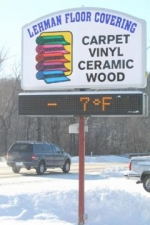 The electronic sign at Lehman Floor Covering, on the south side of Huntington, flashes 7 degrees below zero on Friday morning, Jan. 16, at about 10:15. The cold temperatures were responsible for a major power outage  in Huntington County.