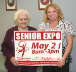 The Fifth Annual Huntington County Senior Expo will be held on Thursday, May 21, at the Huntington University Fieldhouse. Pictured are Norma Jean Baker (left), Senior Center volunteer, and Holly Saunders, executive director at the center.