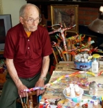 John Schoolman, shown here in his art studio, will celebrate his 100th birthday during open houses Jan. 22 and Jan. 25. Schoolman lived many years in Bippus, where he owned a general store from 1936 to 1973.