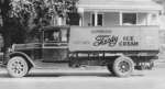 The first Cloverleaf Creamery truck to deliver ice cream to stores is shown on a Huntington street about 1921. Cloverleaf Creamery, now known as Good Humor-Breyers, will be the topic of a Huntington County Historical Society program on Monday, March 16.