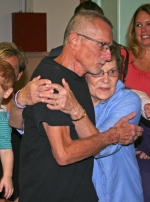 Mike Ackley (left), of Warren, gets a big hug from his mother, Ruthann Ackley, after being named the 2015 Samuel Jones Pioneer Award winner on Friday, July 3, at the Knight Bergman Civic Center. The award kicks off the 48th annual Salamonie Summer Festival, which runs July 3, 4 and 5 in Warren.
