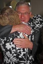 Huntington's newest Chief of the Flint Springs Tribe, John Easterday, gets a congratulatory hug from Patty Warner after the announcement at the 42nd annual Chief's Breakfast on Thursday, June 17.