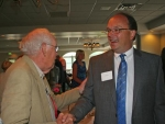 David Brewer (left), 1982 Chief of the Flint Springs Tribe, congratulates Jim Scheiber on his being named the 2014 Chief after the annual Chief's Breakfast on Thursday, June 19, at the LaFontaine Golf Club.