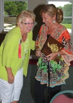 Marj Hiner (left) 1989 chief of the Flint Springs Tribe, and the newest chief, Ruth Marsh, share a laugh after the annual Chief's Breakfast on Thursday, June 18, at the LaFontaine Golf Course.