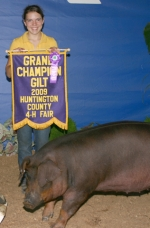 Briana Johnson won grand champion gilt at the Huntingotn County 4-H Swine Show on Monday, July 27.