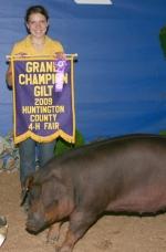 Briana Johnson won grand champion gilt at the Huntingotn County 4-H Swine Show on Monday, July 27.