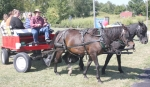 Free horse and wagon rides, shown here from last year, will again be given during the Zanesville Homespun Day, on Saturday, Sept. 5.