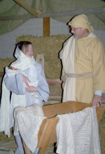 "Carley McElhaney (left) and Sam Wright portray Mary and Joseph in last year's ""Night in Bethlehem"" at Evangelical United Methodist Church. This year's performance is Dec. 4 from 5 p.m. to 8 p.m."
