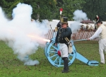 A shot from a three-pounder light artillery cannon announces the opening of the Forks of the Wabash Pioneer Festival in 2015. Members of the 1st U.S. Light Artillery of Huntington, Doug Pressler (front) and Ken Bloom (in back mostly hidden), stand by as Jed Vaccaro (right) lights the fuse. The cannon will return to open this year's festival, set for Saturday and Sunday, Sept. 24 and 25, at Hier's Park and the Huntington County Fairgrounds.