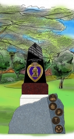A new monument at Memorial Park pays tribute to American service men and women who have been killed or wounded in the service of their country. The Purple Heart monument, shown here in an artist's sketch, was unveiled Saturday, Nov. 7, as part of a dedication ceremony for a new veterans' memorial at the park. The ceremony followed the Veterans Day parade.