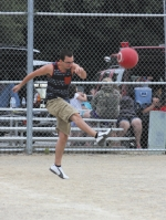 Aaron Page sends the ball flying during the Salamonie Summer Festival Kickball Tournament last year at Tower Park, in Warren. The tourney is scheduled this year for Sunday, July 2, at 2 p.m.