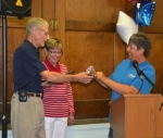Wendell Brown, recipient of the 2017 Samuel Jones Pioneer Award, received the key to the Town of Warren from Town Council President Julia Glessner (right) during the Salamonie Summer Festival kickoff breakfast on June 30. With Brown is his wife, Shari Brown (center).