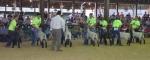 Judge Nick Riecke evaluates the sheep showmanship skills of 4-H members (from left) Josh Leidig, Michael Thompson, Sarah Hunnicutt, Braydon Poulson, Jada Johnson, Rachel Jackson and Kaitlyn Drayer.