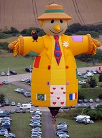 Smiley the Scarecrow makes his first appearance at the Heritage Days Hot Air Balloon Festival, which begins at 7 p.m. on Saturday, June 18, at Huntington North High School. The 160,000-cubic-foot giant dirigible stands 120 feet tall, or about 12 stories.