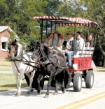 A horse-drawn wagon meanders through the streets of Zanesville during the 2010 Homespun Day celebration. Wagon rides will again be part of this year's festival, to be held on Saturday, Sept. 3.