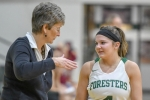 Huntington University Head Women's Basketball Coach Lori Culler (left), shown instructing HU guard Maddie Richer earlier this season, was named the winner of the 2019 Indiana Fever Silver Medal Award on Tuesday, Dec. 11. The award includes induction into the Indiana Basketball Hall of Fame.
