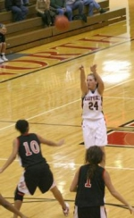 Liesl Davenport fires up a three-pointer in the Lady Vikings' big 63-32 victory over visiting Fort Wayne North Side on Monday, Feb. 2. Davenport scored 11 points on the night.
