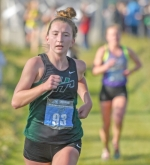 Huntington University cross country runner Aspen Dirr competes in the 2018 NAIA Women's Cross County Championship at Seminole Valley Cross Country Course in Cedar Rapids, IA, on Friday morning, Nov. 16. Dirr picked up an All-American badge with a 19th place finish.