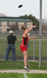 Huntington North High School discus thrower Kayla Lund gets full extension during one of her attempts on Thursday, April 24, in a  meet against visiting Columbia City.